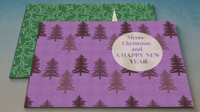 Purple Fir tree Hollyday Christmas Cards