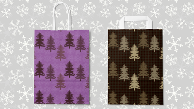 Bags with fir tree motives