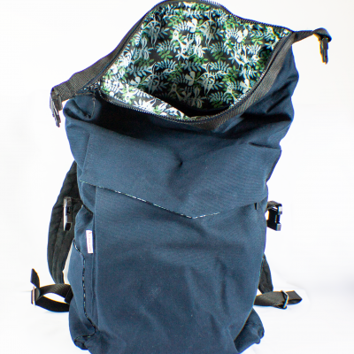 Open Blue Roll-Top Backpack