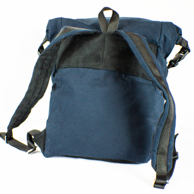 From the back Blue Roll-Top Backpack
