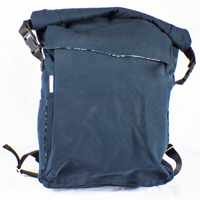 Front of Blue Roll-Top Backpack