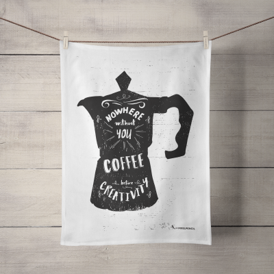 Coffee Quote illustration tea towel