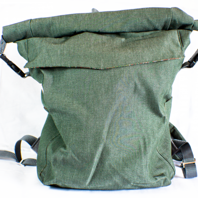 Front of Green Roll-Top Backpack