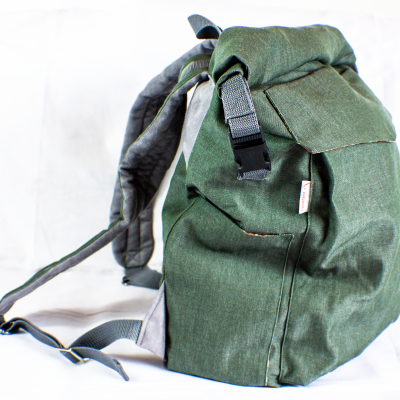 From the side Green Roll-Top Backpack