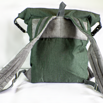 From the back Green Roll-Top Backpack