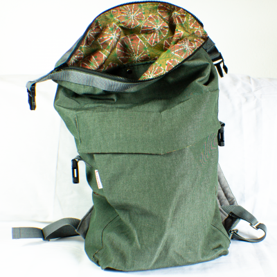 Open Green Roll-Top Backpack