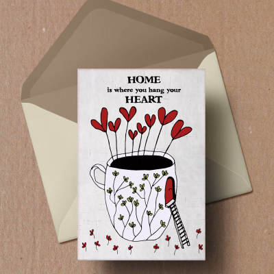 Heart illustrations and quotes on postcards