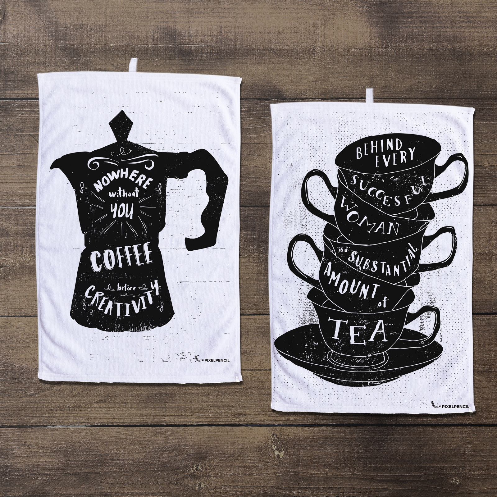 Quote illustrations on tea towels