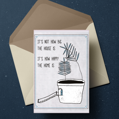Home illustrations and quotes on postcards