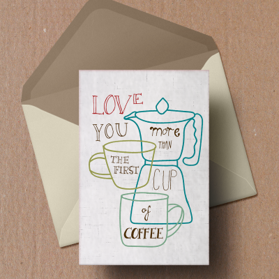 Coffee illustrations and quotes on postcards