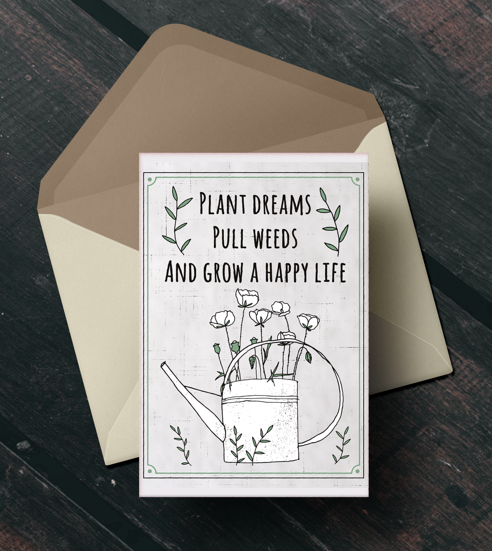 illustrations and quotes on postcards