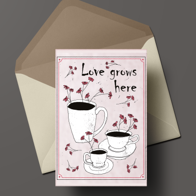 red flower illustrations and quotes on postcards